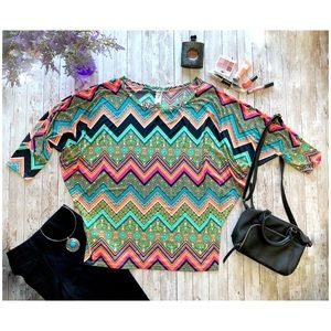 LilyPad colorful chevron floral print batwing top